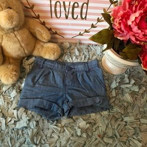 Chambray toddler girl shorts